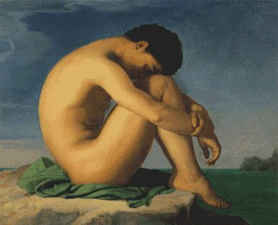 Naked Young Man Sitting On A Rock