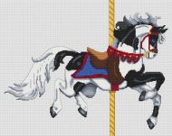 Black Paint Carousel Horse