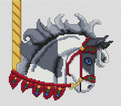 Grey Paint Carousel Horse Head